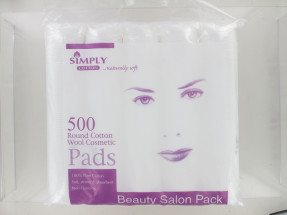 SIMPLY COTTON ROUND COSMETIC PADS 500'S