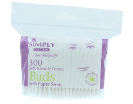 SIMPLY COTTON BUDS PAPER STEM ZIP 300'S