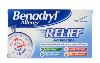 BENADRYL ALLERGY RELIEF CAPS 12'S