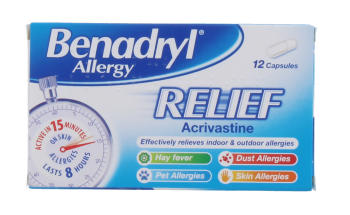 BENADRYL ALLERGY RELIEF CAP 12'S