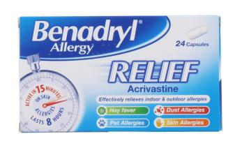 BENADRYL ALLERGY RELIEF CAP 24S