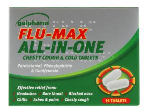 GALPHARM FLU MAX COUGH TABS 16S