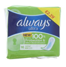 ALWAYS ULTRA 16'S NORMAL PMP £2.29