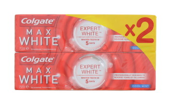 COLGATE 2X75ML T/P MAX WHITE MINT