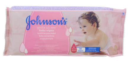 JOHNSONS BABY WIPES GENTLE 56'S