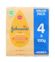 JOHNSONS BABY SOAP 4X100G HONEY NEW PK