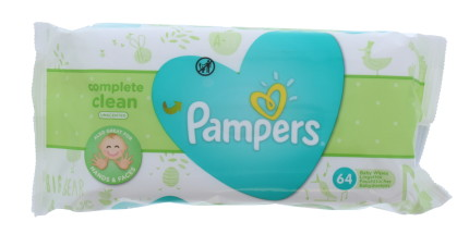 PAMPERS WIPES NATURAL CLEAN 64'S