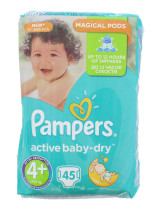 PAMPERS ACT BABY DRY NAPPIES SIZE 4+ 45S