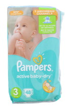 PAMPERS ACT BABY DRY NAPPIES SIZE 3 48'S