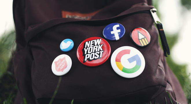 Custom logo buttons on backpack