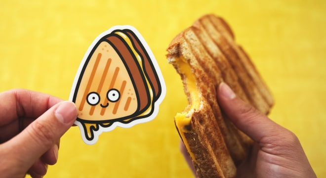 Custom die cut sticker of grilled cheese sandwich