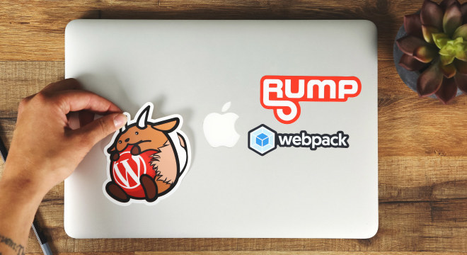 Custom stickers on Macbook laptop