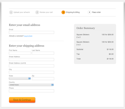 Screenshot of our new checkout screen