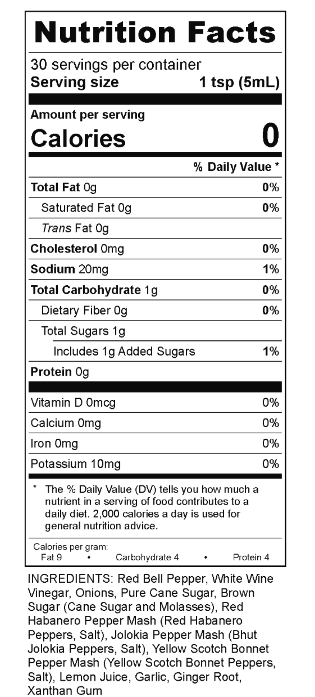 Mule Sauce nutrition facts