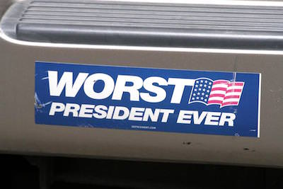 Anti-Bush bumper sticker