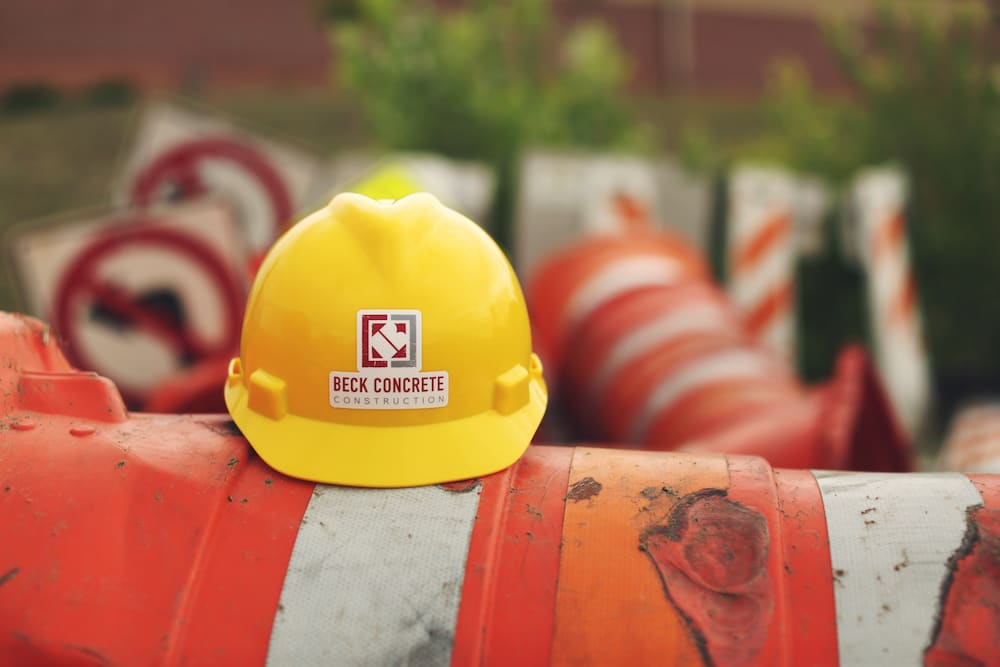Hard hat with custom stickers