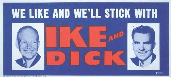 Eisenhower Re-Election Bumper Sticker, 1956