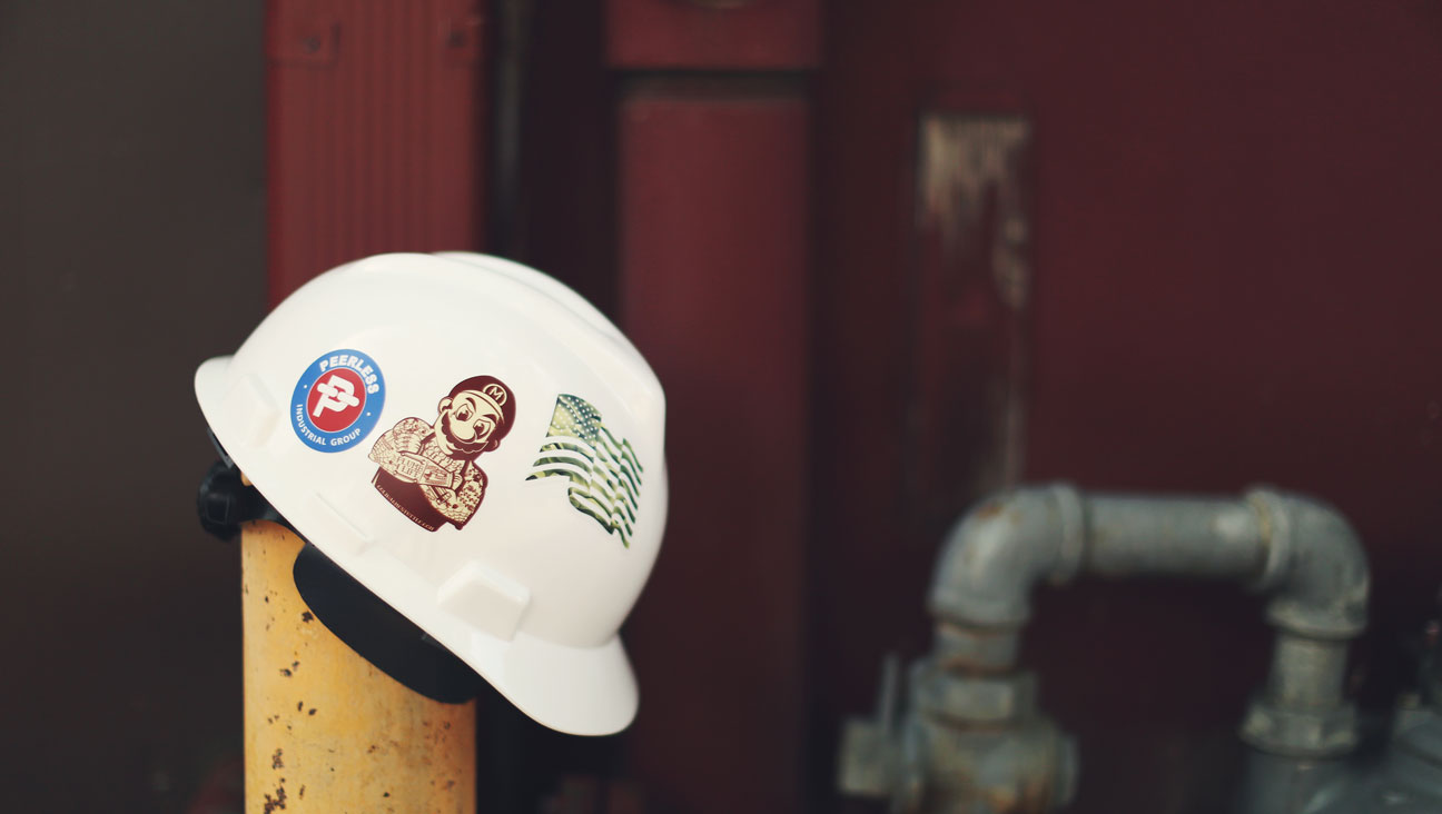 Hard hat stickers by sticker mule