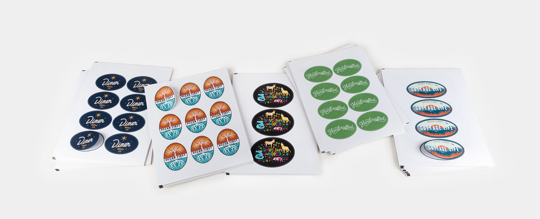 Planches d'étiquettes ovales de Sticker Mule