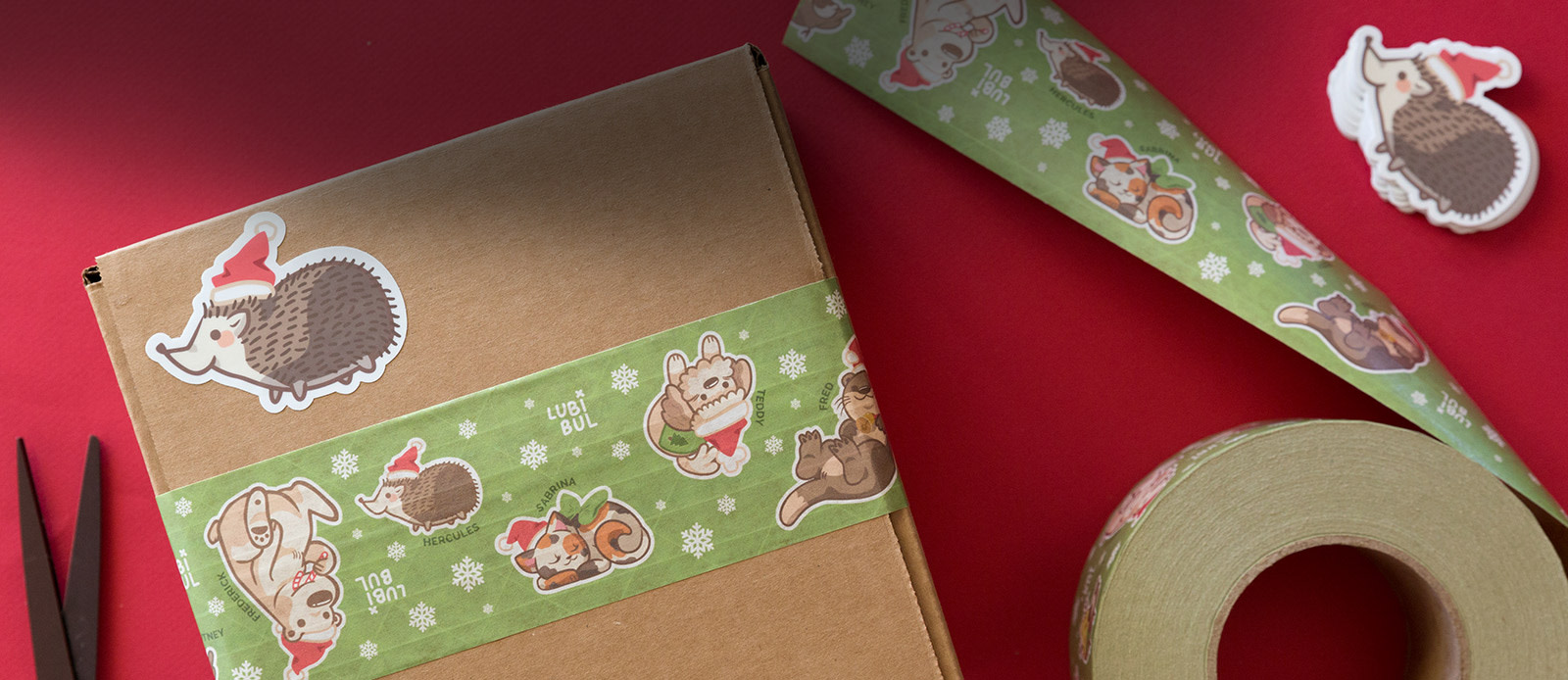 Holiday packaging tape  by Sticker Mule