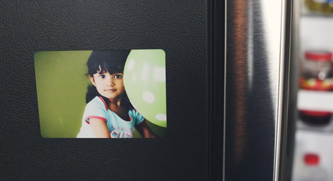 Custom photo magnet of a young girl