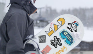 A product use picture from Sticker Mule. In this case: snowboard-stickers