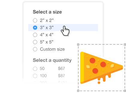 Image of size estimate selection