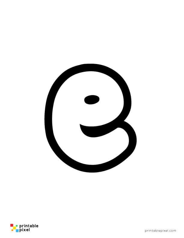 Bubble Letter Lowercase E