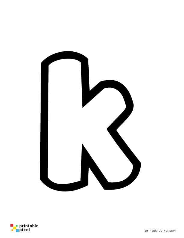 Bubble Letter Lowercase K