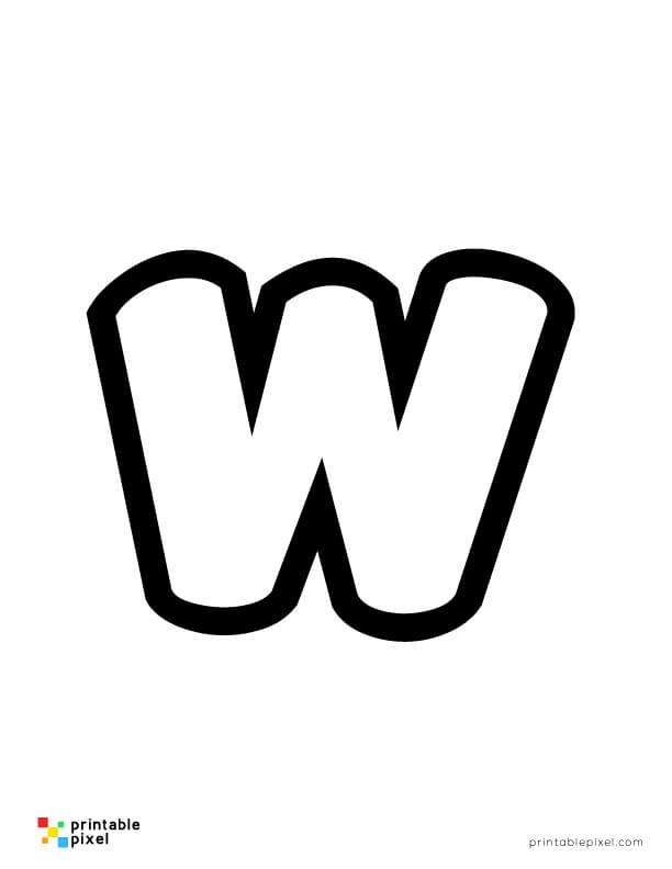 Bubble Letter Lowercase W