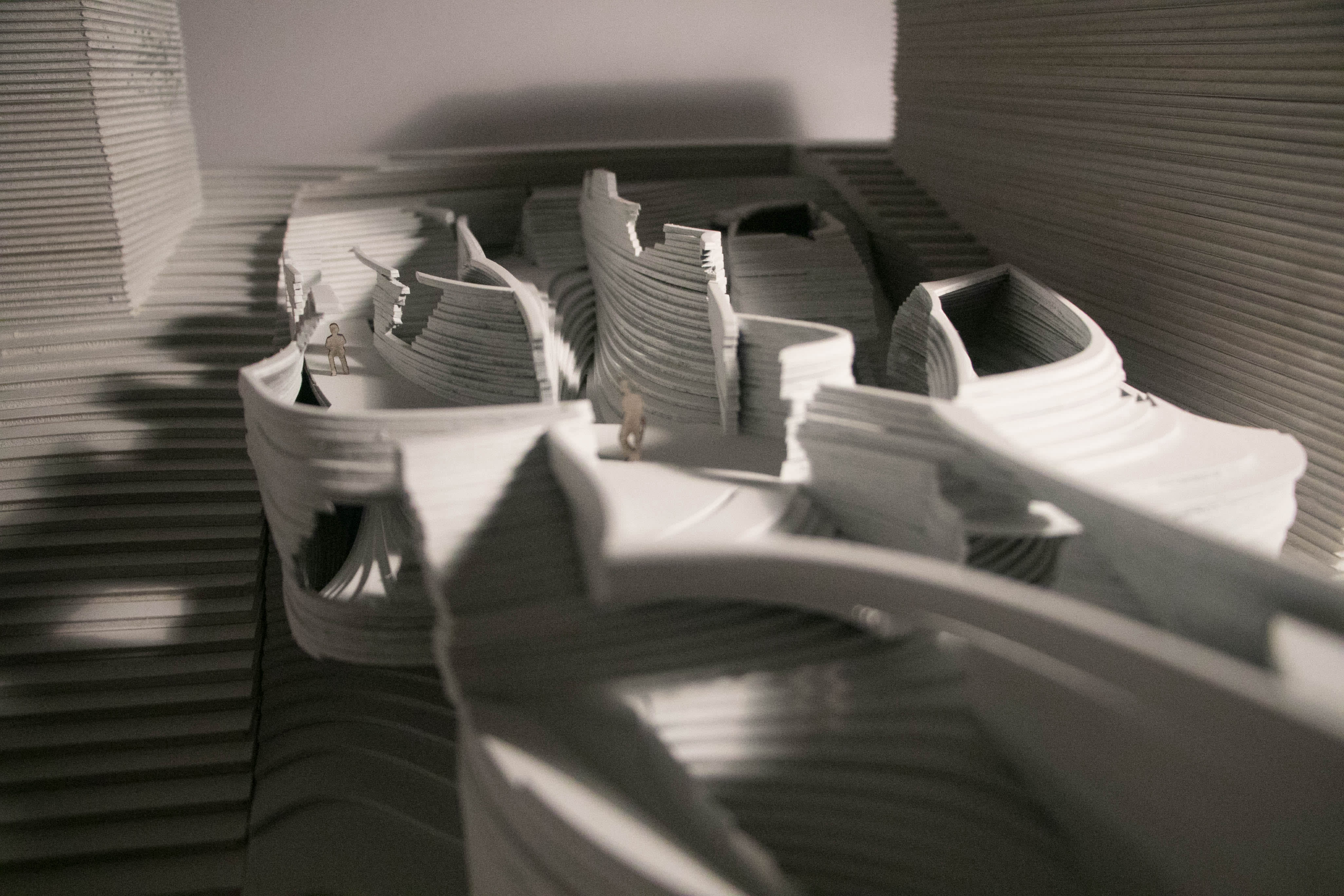 Top shot of architectural model of a kindergarten room