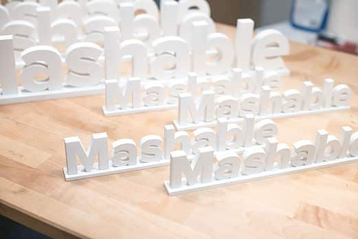 Laser cut mashable logo