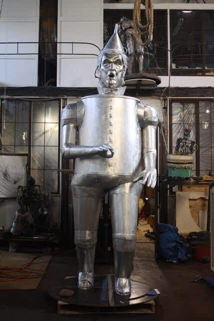 metal plated tin man front view