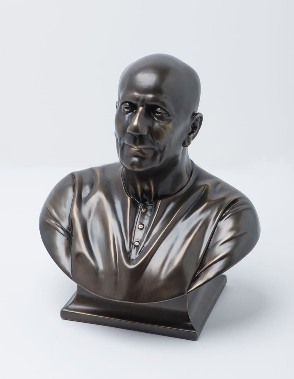 metal plated figure of a man from shoulders to head