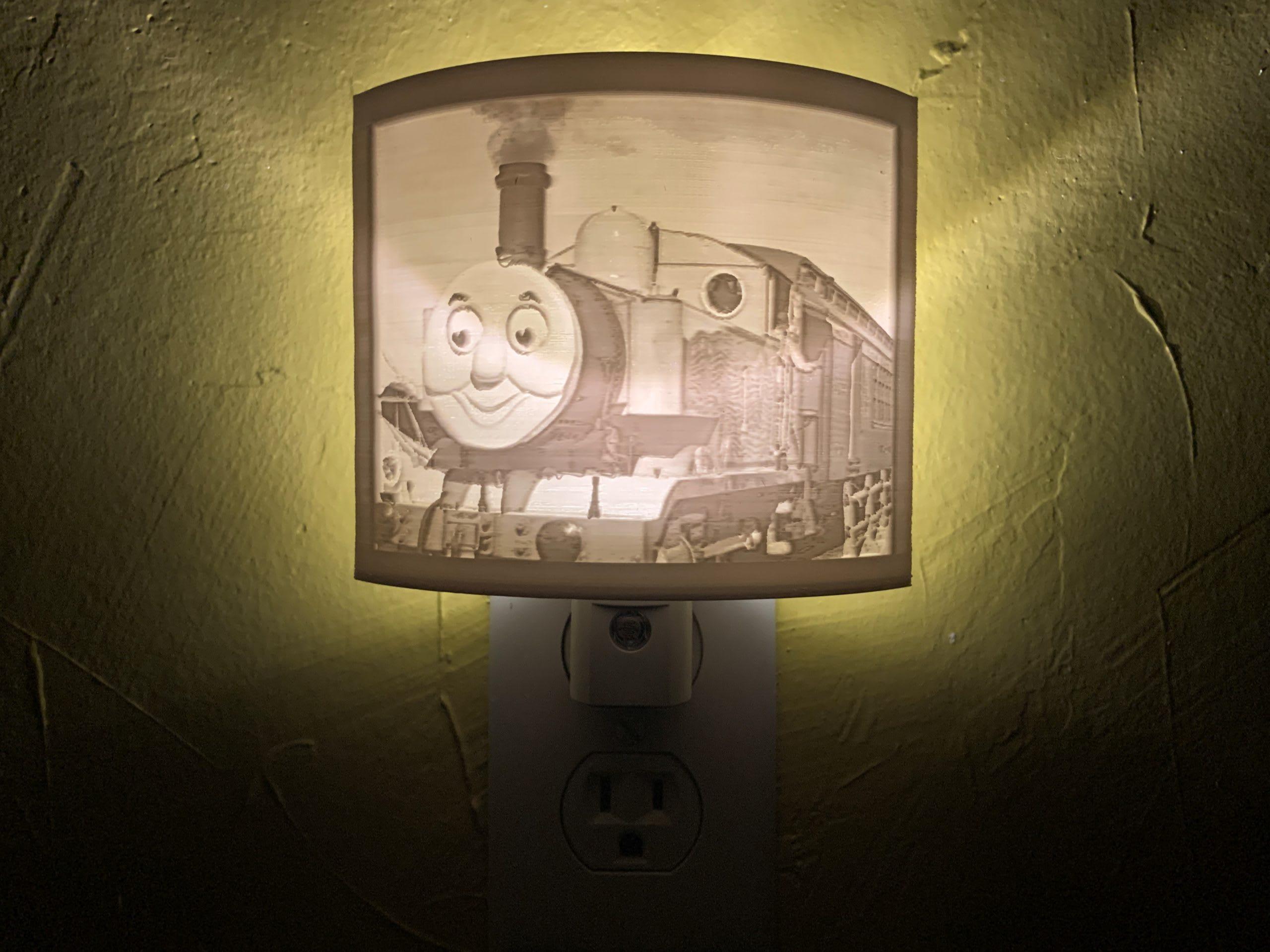3d printed Thomas the Tank LIthophane Nightlight