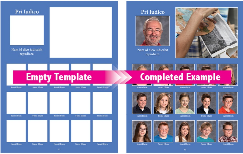 Template to completed example of online yearbook printing