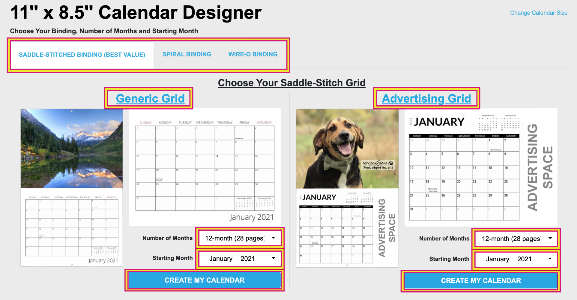 Choose Your Calendar Grid, Number of Months and Starting Month