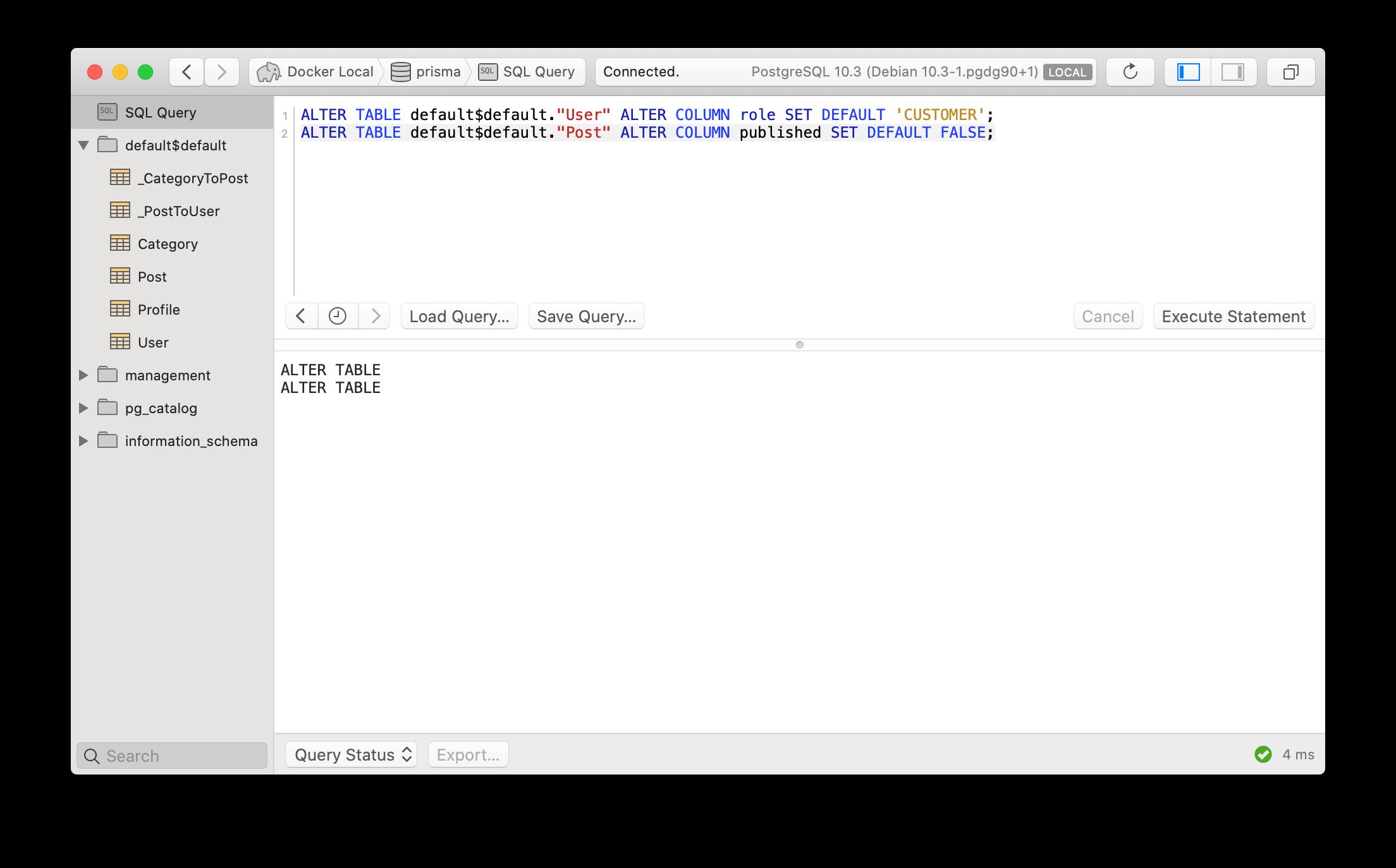 Adding missing `DEFAULT` constraints to columns