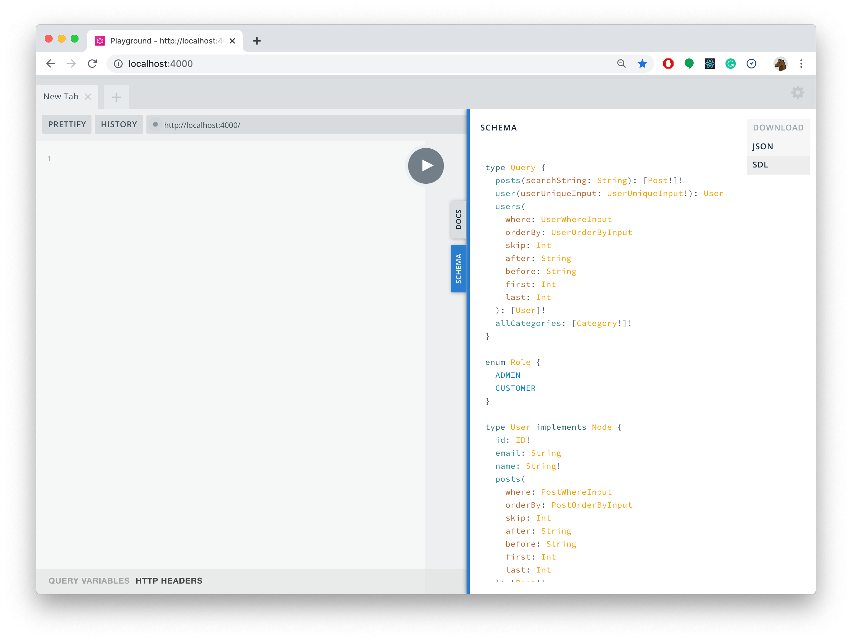 Downloading the GraphQL schema with GraphQL Playground
