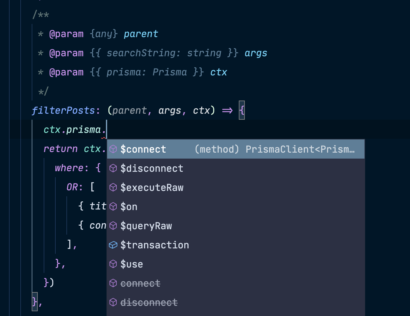 The correct parameters for context are obtained