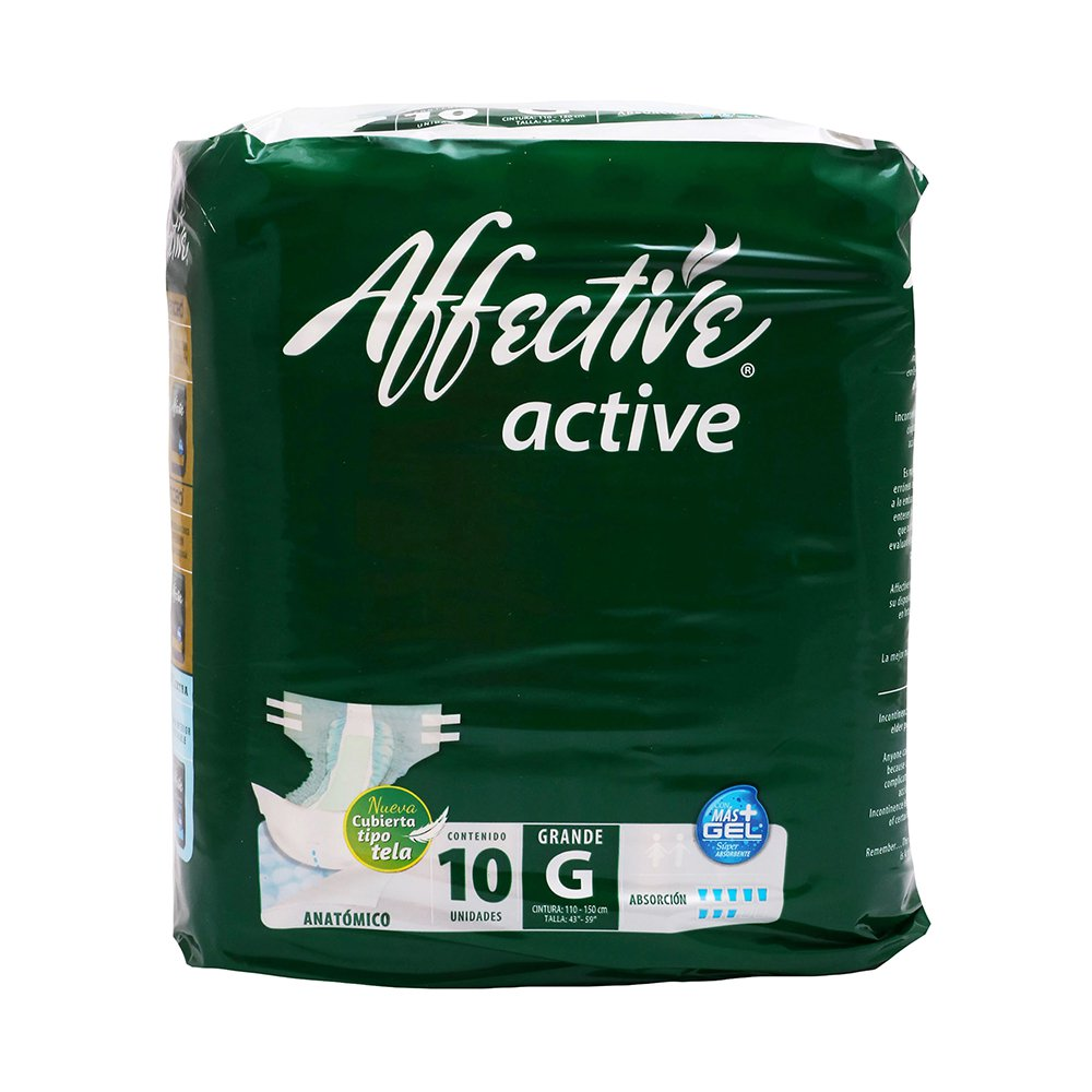 Comprar Affective Active Anatomico Grande 1 Bolsa 10 Pañales