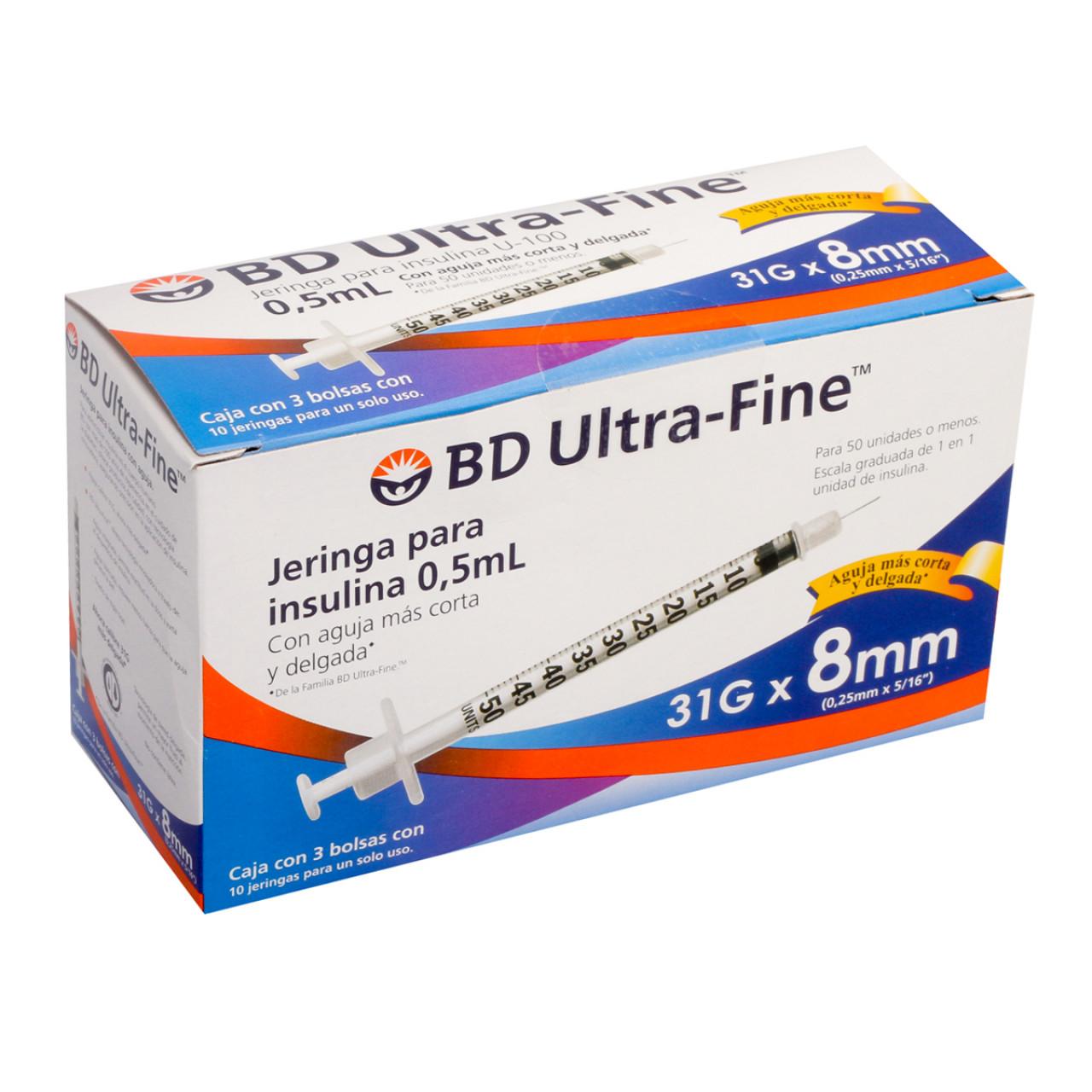 Comprar Jeringa Insulina Ultrafine 31G X 8Mm 3 Bolsas 10 Piezas 0.5 Ml