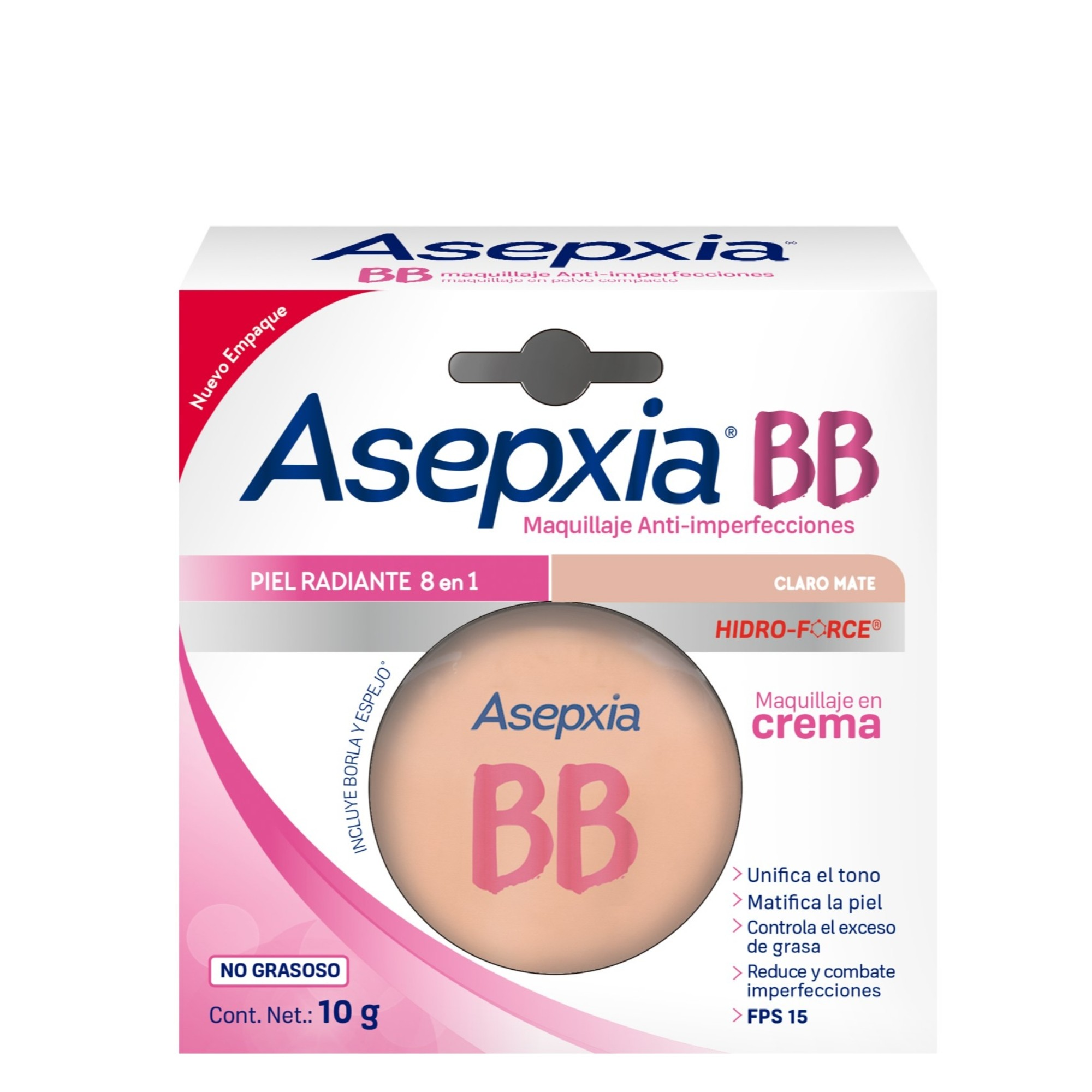 Comprar Asepxia Bb Claro Mate Maquillaje 1 Blister Crema 10 Gr