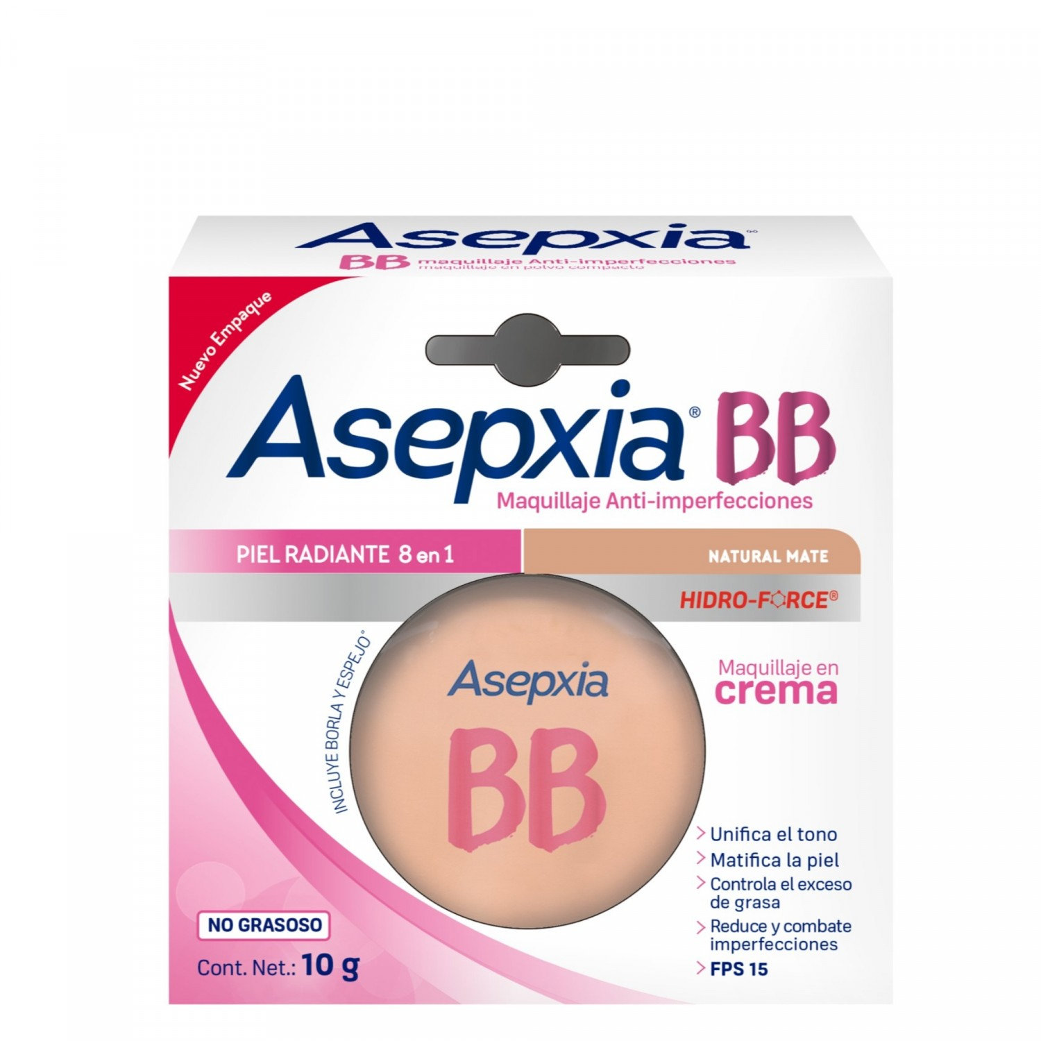 Comprar Asepxia Bb Natural Mate Maquillaje 1 Blister Crema 10 Gr