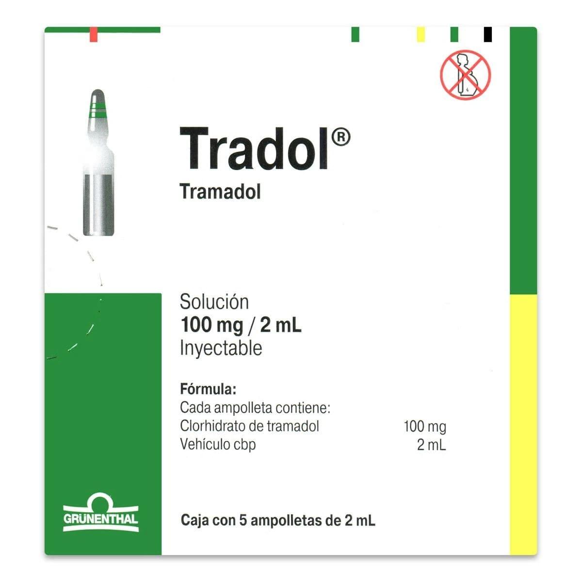 Comprar Tradol Ml 100 Mg 1 Caja 5 Ampolletas 2 Ml