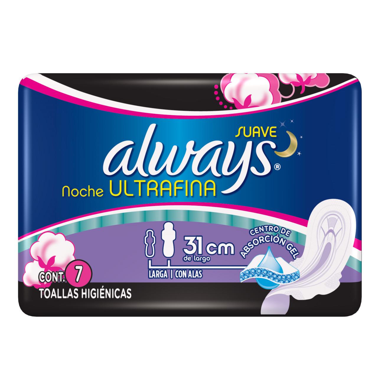 Comprar Always Ultra Fina Nocturna Con Alas Toalla Sanitaria 1 Bolsa 7 Piezas