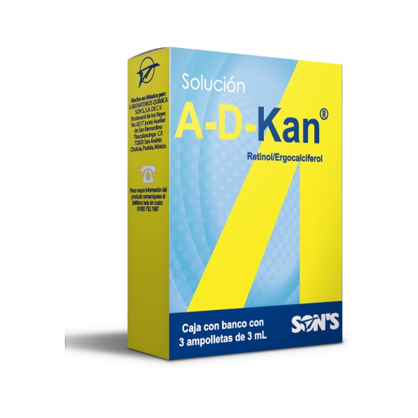 A-D-Kan 3 Ampolletas 3 ML