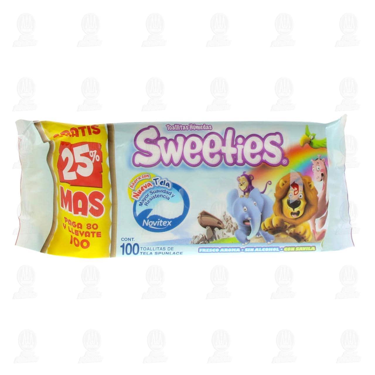 Toallitas para Bebé Sweeties Tela Spunlace, 100 pzas.