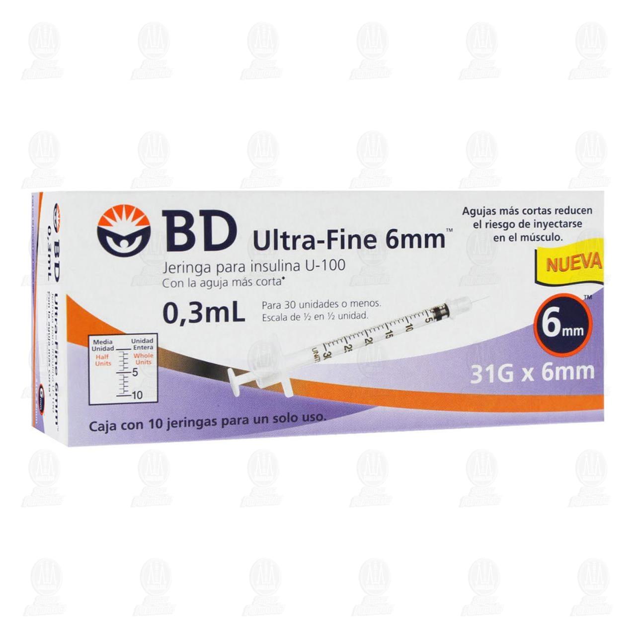 Jeringa BD Ultra Fine Insulina 0.3ml 31G x 6mm 10 Piezas