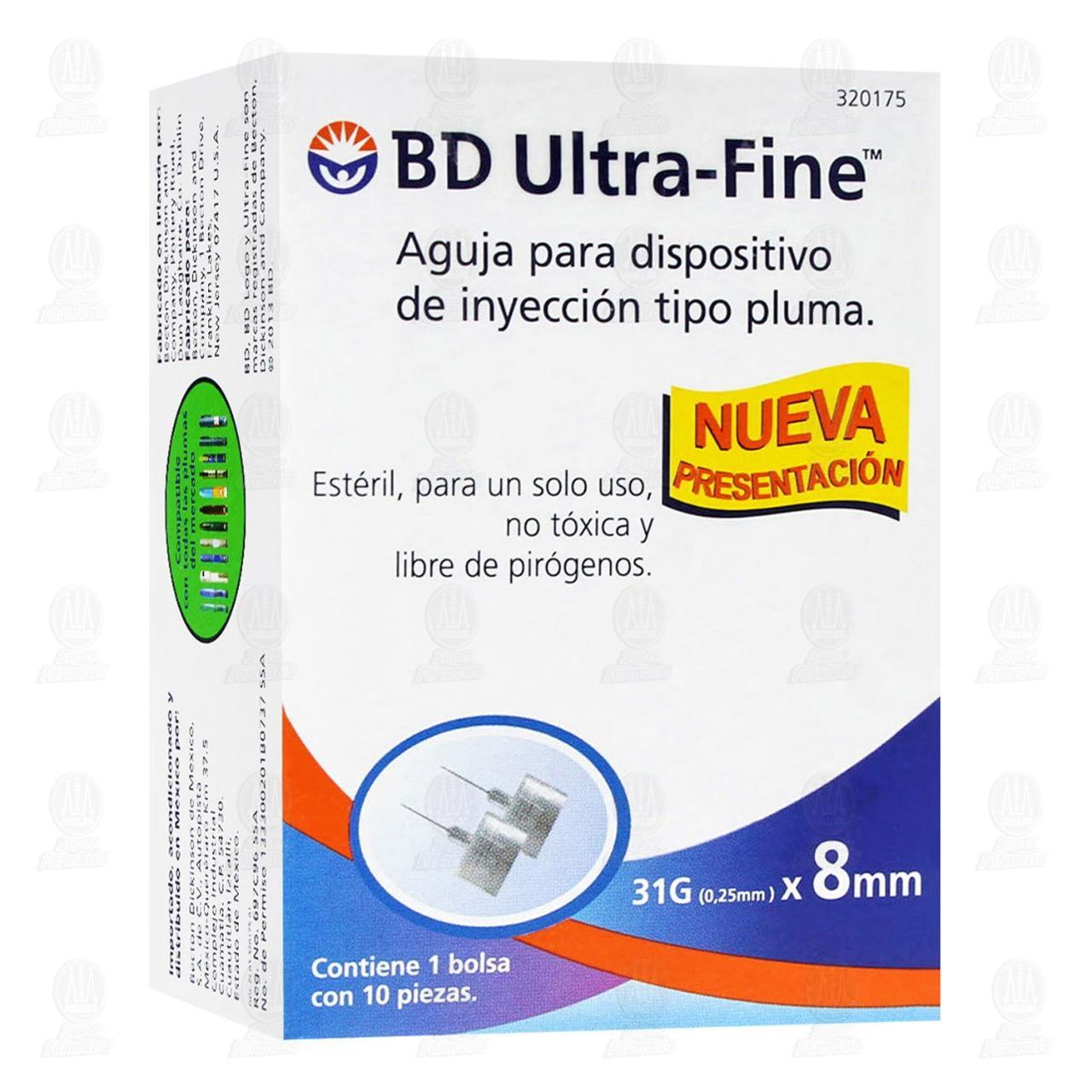 Aguja BD Ultra Fine 31gx8mm Pluma 10 Piezas